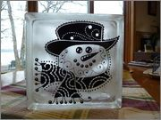 Glass Block made by Cindy Miller from the Smart Buy Gal Forum.  Made with my Inkadinkado Snowman Head 3 file