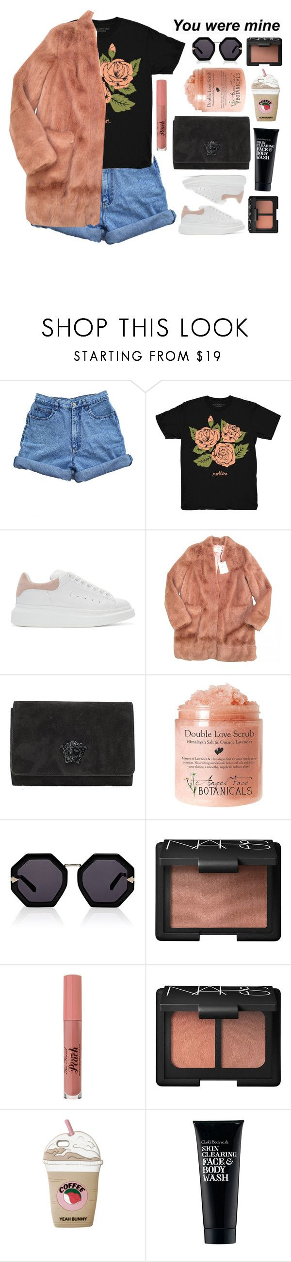 """Untitled #2833"" by tacoxcat ❤ liked on Polyvore featuring Bill Blass, Stay Home Club, Alexander McQueen, Urbancode, Versace, Karen Walker, NARS Cosmetics and Clark's Botanicals"
