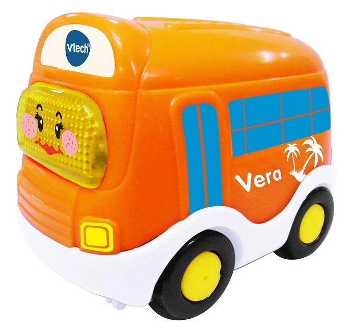 VTech Toet Toet Vakantiebus. Leuk autootje met meerdere gezongen liedjes en korte melodietjes. Bewegingssensor activeert grappige zinnetjes en muziek. Knipperende gezichttoets. Met realistische geluiden. Automatische uitschakeling.  - VTech Toet Toet Vakantiebus