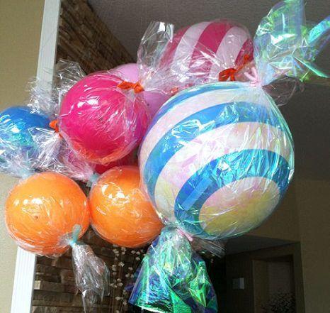 globos caramelo con celofn para decorar cumples