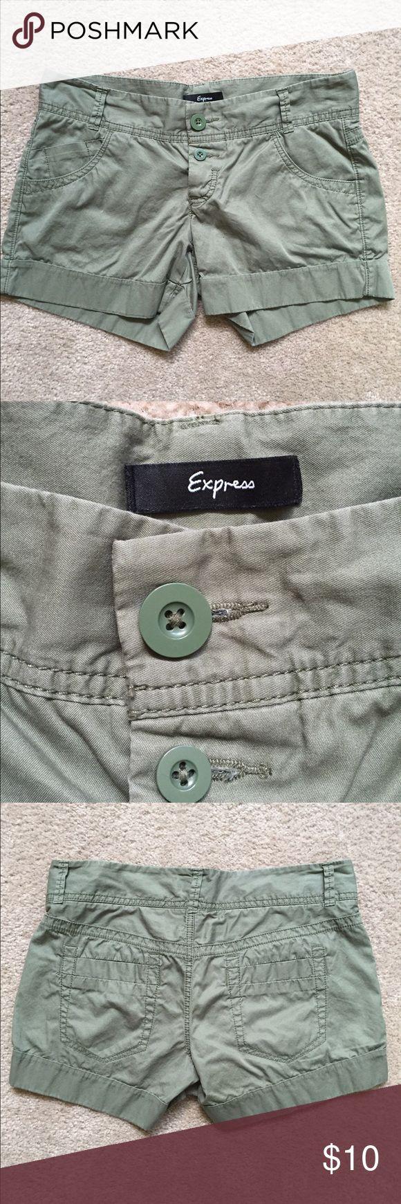 Express Olive Green Shorts Color: Olive Green! Button closure! 🚫No Trades🚫 Express Shorts