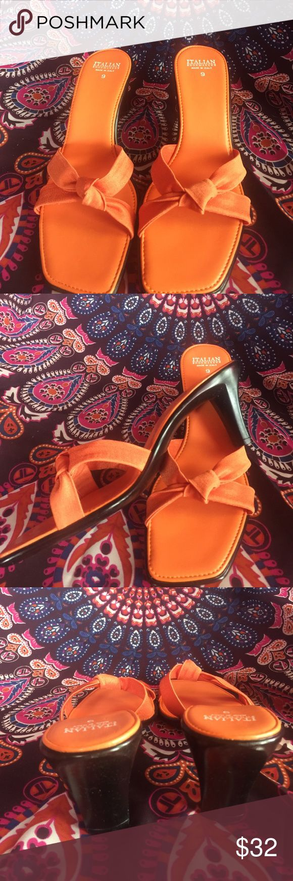 Women's size 9 orange heeled slip on sandals Gorgeous never worn slip on heeled sandals. These are woman's ITALIAN  SHOEMAKERS brand from Italy. A very nice orange color makes these such fashionable shoes. Any questions please feel free to contact me. ITALIAN SHOEMAKERS Shoes Sandals