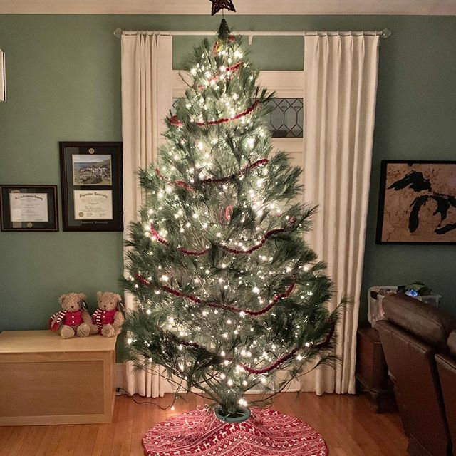 We Made A Mistake We Bought A Big Beautiful Tree With Really Weak Branches So We Decided To Do Just Do Jesse Tree Ornaments Felt Ball Garland Beautiful Tree