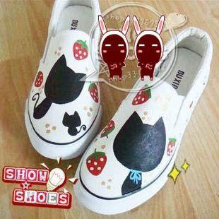 Morango gato sapatos sapatos pintados à mão em Mulheres ' s sapatos casuais de Sapatos no AliExpress.com | Alibaba Group