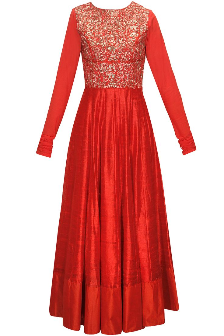 Red zardozi and chiffon embroidered anarkali set