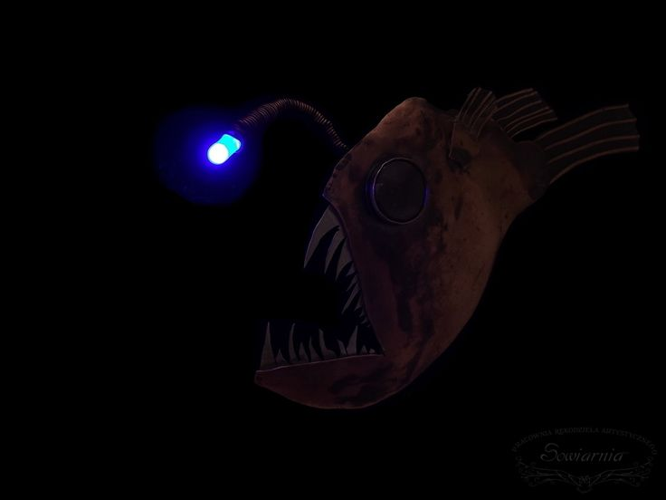 Anglerfish necklace - deep sea monster. Copper, alpaca, glass cabochon, LED :-)