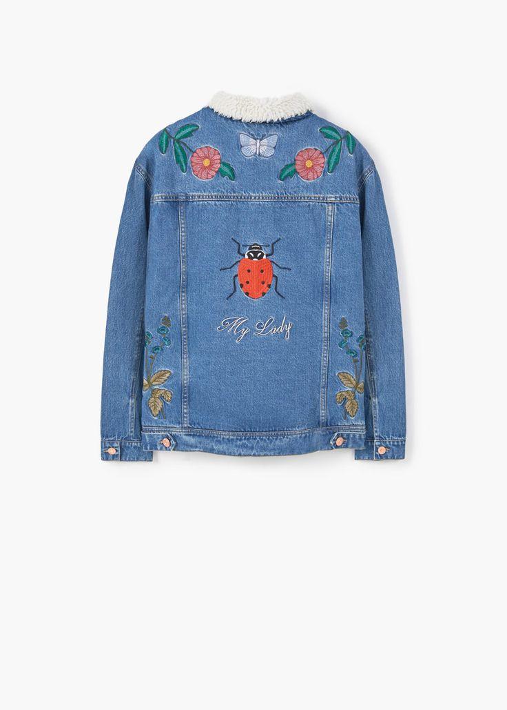 Spijkerjack met contrasterende kraag | MANGO jeans jacket embroidery blue