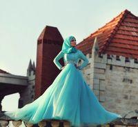 Горячие Продажи с длинным рукавом Абая платье de noiva Формальные Мусульманские Свадебные Платья wdding платье свадебное платье Исламская Одежда Хиджаб