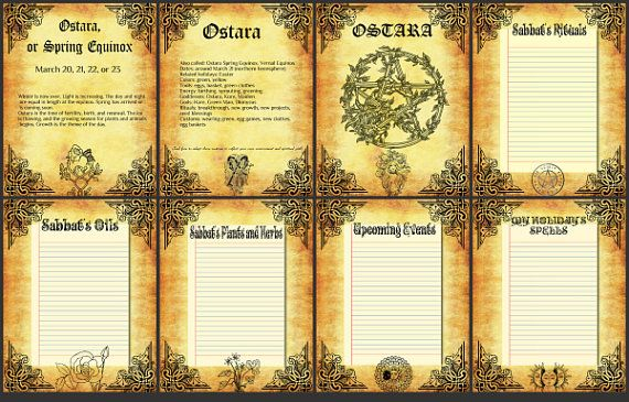 BOS 8 Pages Ostara Wiccan Weel of the Year Printable Book