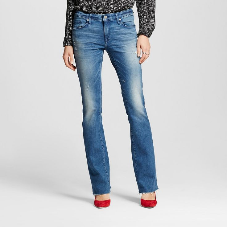 Women's Mid-rise Skinny Bootcut Jeans Medium Wash 16L - Mossimo, Size: 16 Long, Blue