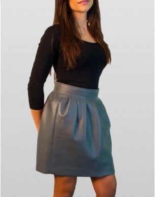 falda de cuero gris by Telma's