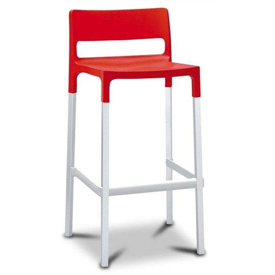 Divo Stool in Red (set of 2) Commercial Grade - Bar Stools