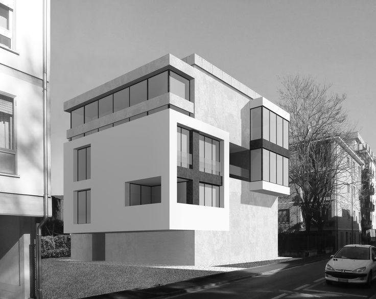 progetto di edificio in cemento faccia a vista, Treviso. Studio di architettura Bornelloworkshop