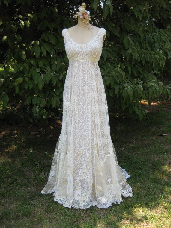 Ivory Champagne Hippie Lace Collage Wedding Gown by hippiebride, $1,195.00