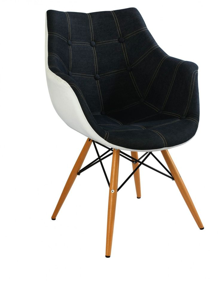 Produced in the 50's by Charles and Ray Eames, the Eiffel Base Armchair is a designer classic. Featuring a shell shaped seat made and wooden legs, its enduring clean, simple form that is sculpted to fit the body, and quality construction make it a comfortable and durable performer. Upholstered with denim contrasted with white adds to the comfort and casual aesthetic. Feature as a statement chair, desk chair or dining chair, paired with a contemporary glass or lighter toned timber dining ...