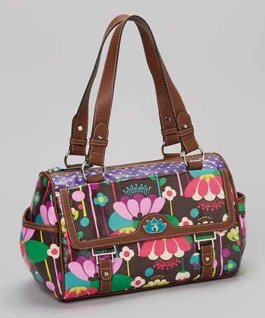 Take a look at this Brown Floral Satchel by Lily Bloom on #zulily today!