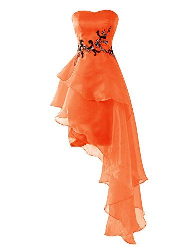 Dresstells Short Prom Dress Asymmetric Organza Homecoming Dress with Beads Orange Size 24W >>> Check this awesome product by going to the link at the image-affiliate link.