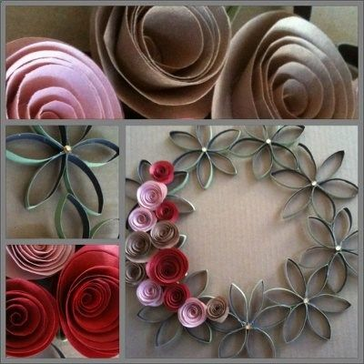 Paper Towel Roll Wreath with rolled paper flowers. Might be a cute summer wreath using yellows  orange