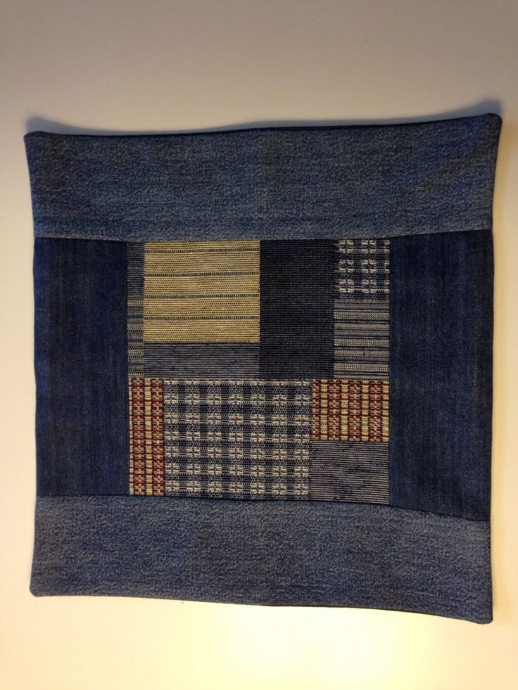 """Re-purposed old jean in to pillow case 16""""* 16""""."""