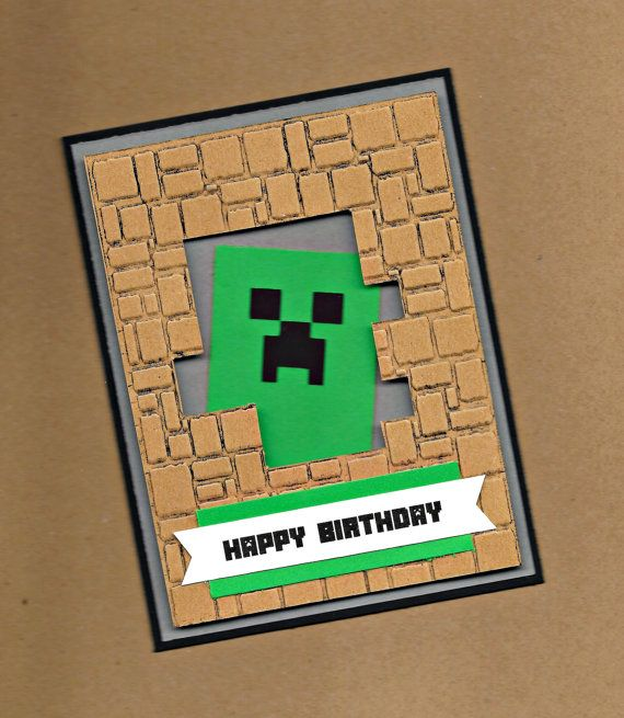 Minecraft birthday card - Hey, I found this really awesome Etsy listing at https://www.etsy.com/listing/229132643/creeper-birthday-card