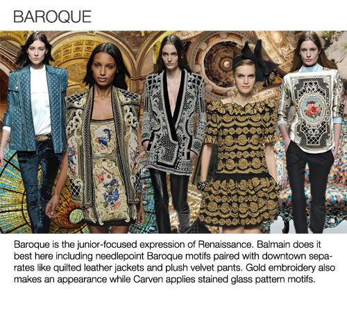 Top 5 trend themes Womens F/W 2013-14, baroque