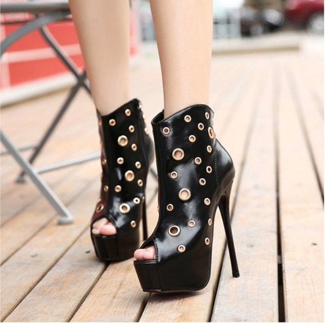 New Women's Sexy Super High Slim Heel Shoes peep Toe Party Club Black Shoes #Unbranded #OpenToe #Clubwear