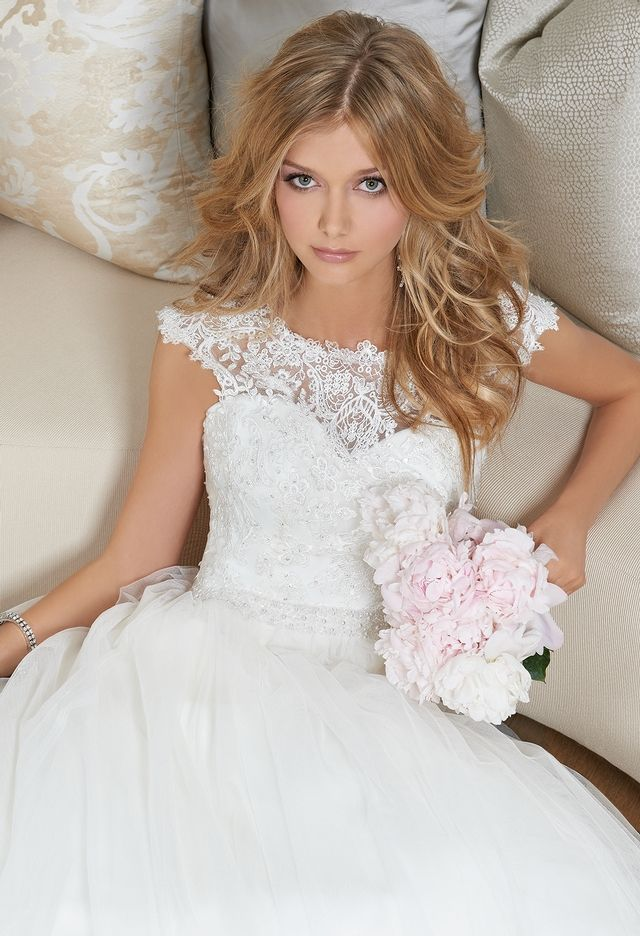 Lace Cap Sleeve Wedding Dress from Camille La Vie and Group USA