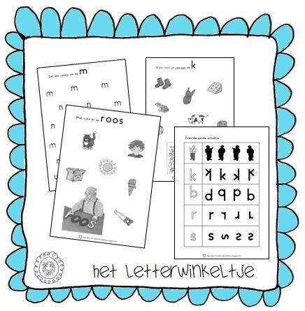 Bij het prentenboek 'Het Letterwinkeltje' van Ron Schröder en Marianne Busser heb ik een aantal werkbladen gemaakt.
