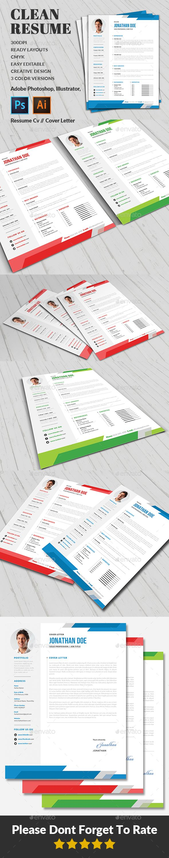 Resume / CV Resume / CV  is a professional, clean, & creative Resume / CV template designed to make a good impression.  ................................................  Features :  - Editable in adobe photoshop  - Editable in adobe Illustrator  - Professional design