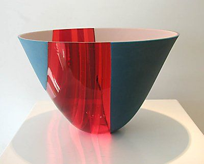 "By Frank van den Ham. Untitled Vessel. fused, kilnformed glass 8 1/2"" x 13"" diameter $2,700"