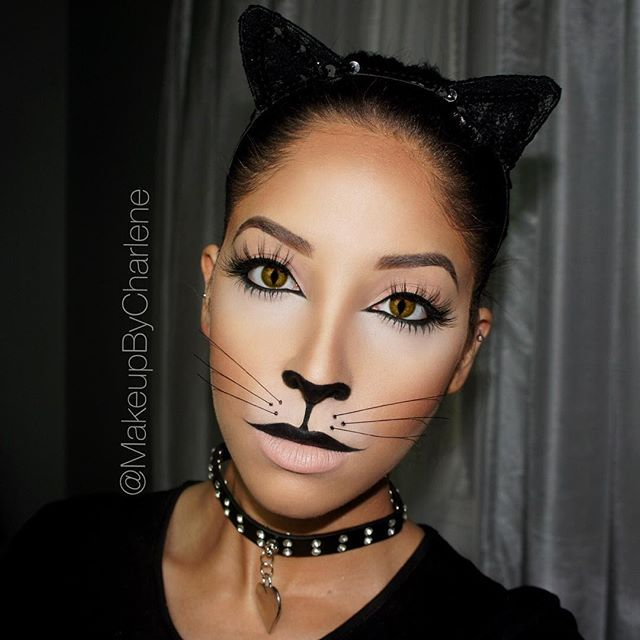 """A Kitty Cat  The First of many Halloween looks for this month! ☺️ Brows: @anastasiabeverlyhills Dipbrow in Soft Brown. Contouring: @anastasiabeverlyhills Powder Contour Kit in Light to Medium. Liner: @tartecosmetics Tarteist Clay Paint Liner, applied w an angled brush. Lashes: @lillyghalichi @lillylashes 3D Mink Lashes in """"Miami"""" Nose and mouth: @nyxcosmetics Jumbo Eye Pencil in Black Bean. Whiskers, Cat Ears, and Cat Choker, from Party City. Cat Eye Contacts I picked up from a beaut..."""