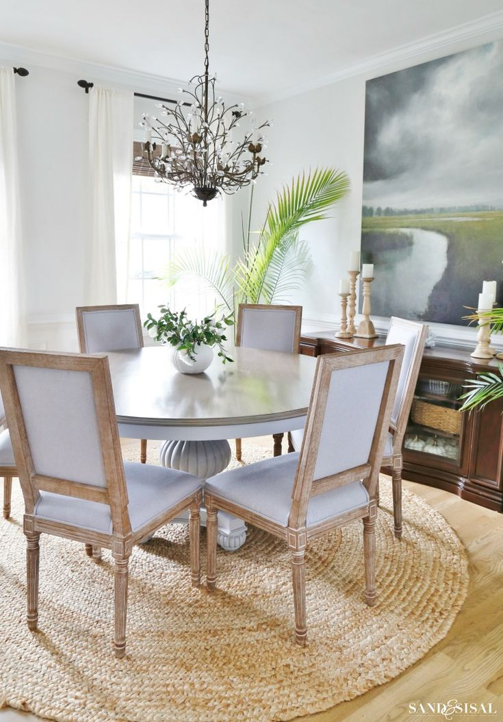 Coastal Dining Room with DIY Driftwood Refinished Table
