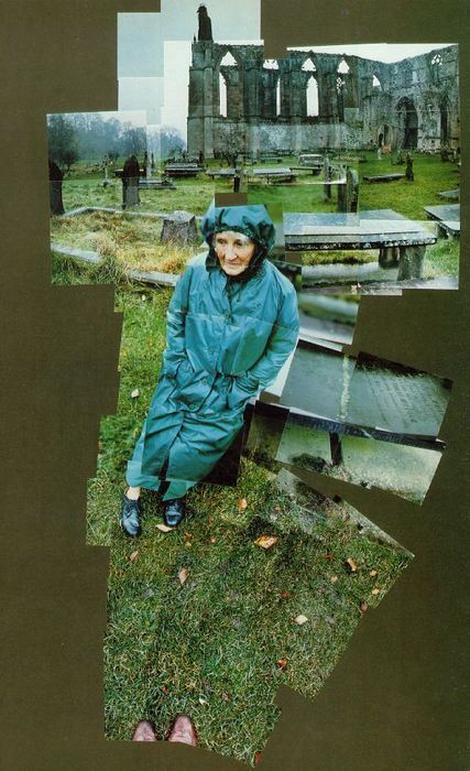 My Mother, David Hockney, 1982, photographic collage.  The perspective on this is great. Again, students would be choosing a personal interest for their project and I would want them to photograph that subject in a place that meant something.