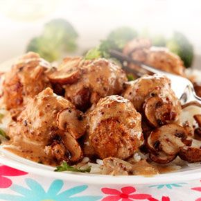 quorn mushroom stroganoff. only 185 calories, 0.6g fat and 25 mins cooking time