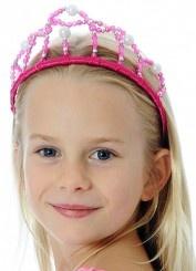 Princess Pearl Tiara Hot Pink
