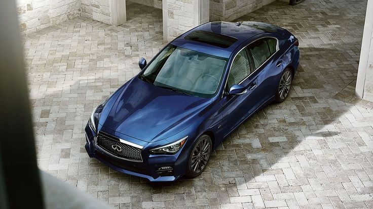 2016 Infiniti Q50 Sedan Exterior   Overview of Double-waved Hood in Iridium Blue