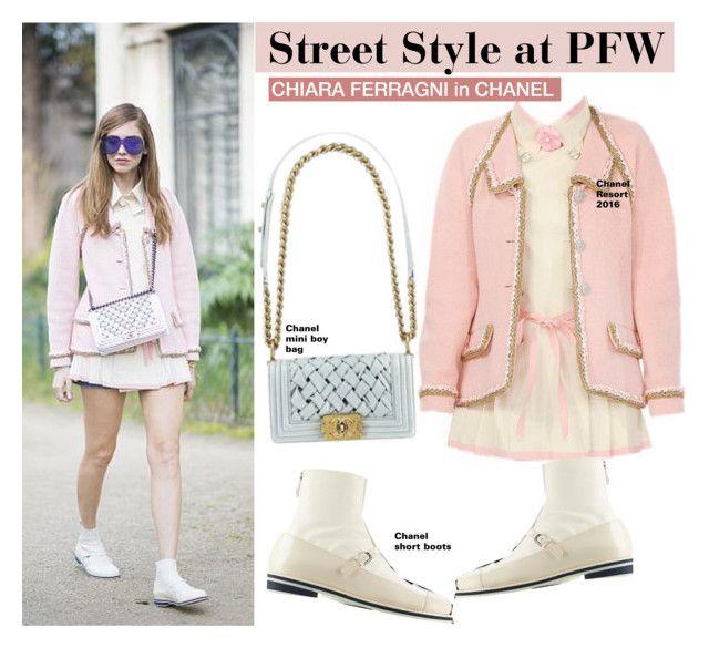 """Chiara Ferragni"" by swweetalexutza ❤ liked on Polyvore featuring Chanel, StreetStyle, PFW and chiaraferragni"