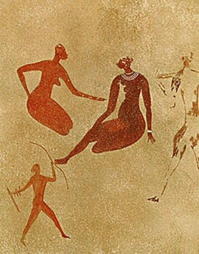 cave paintings found at Tassili-n-Ajjer, north of Tamanrasset (an oasis city and capital of Tamanrasset Province in southern Algeria, in the Ahaggar Mountains.