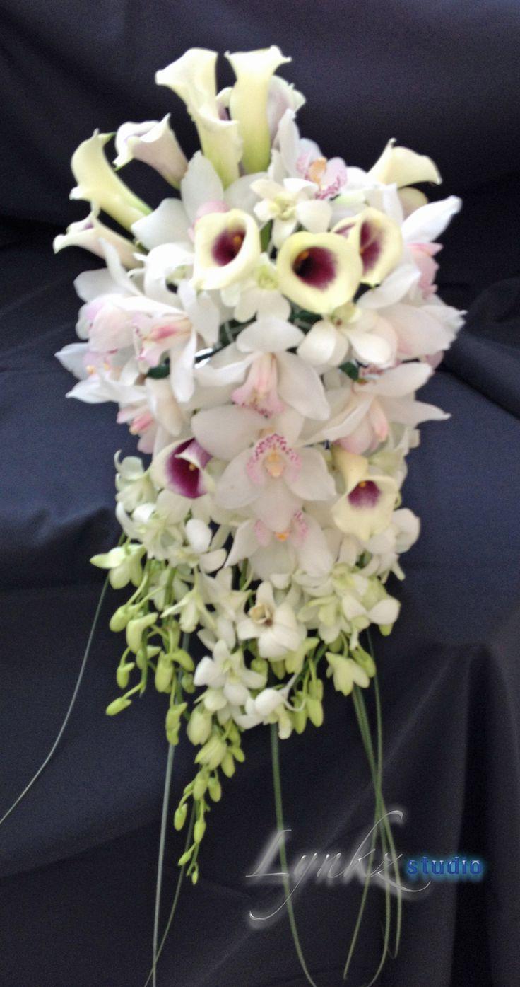 Bride S Cascade Bouquet From Cymbidium Orchids Dendrobium