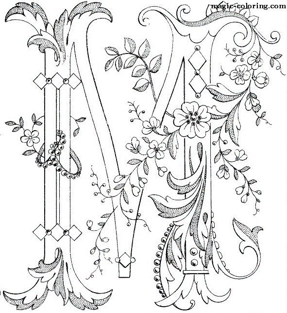 MAGIC-COLORING   Flowered Monograms (3)