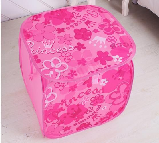 Free shipping cartoon oxford fabric rose floral folding portable dirty clothes basket laundry bucket storage basket for toys