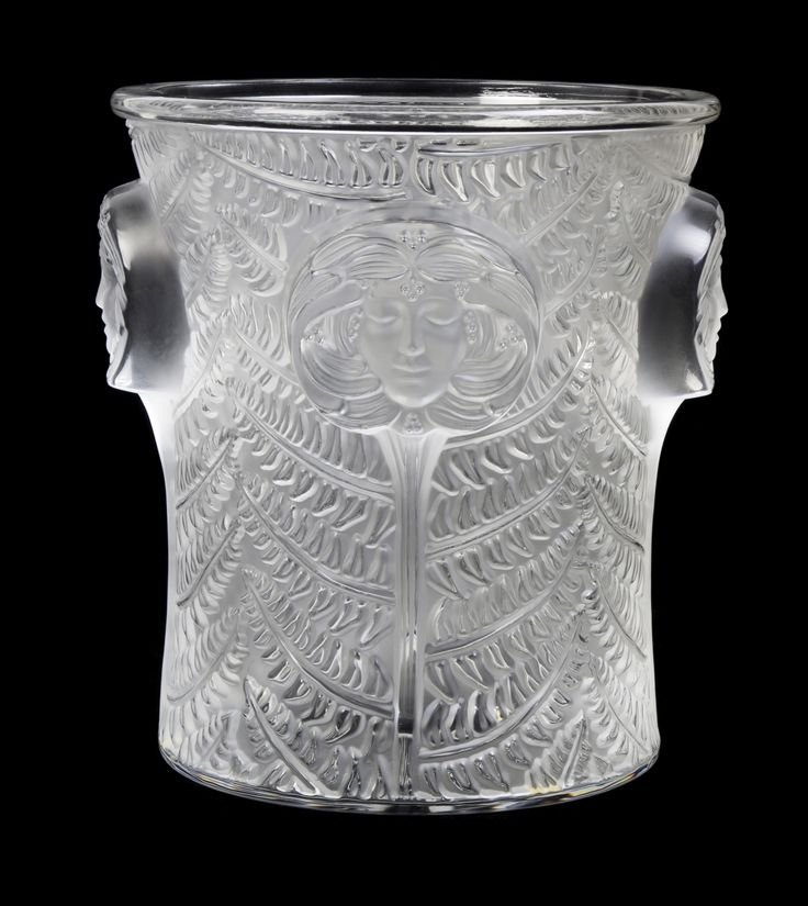 A Lalique Molded and Frosted Glass Wine Cooler | Height 9 inches