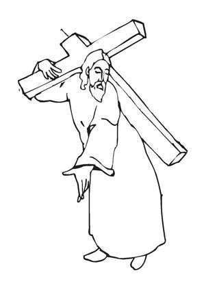 jesus trägt das kreuz zum ausmalen. #ausmalbilder | #