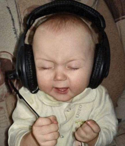 Cute baby rockin out with headphones   GIFs   Funny baby ...