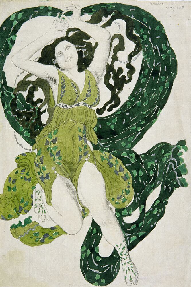 Russian-born artist Leon Bakst first came into contact with the Ballets Russes in 1908. From then until 1922 he created designs for Sergei Diaghilev's troupe, his sets and stagewear particularly thrilling for the pan-European avant-garde who flocked to the Russian company's performances.
