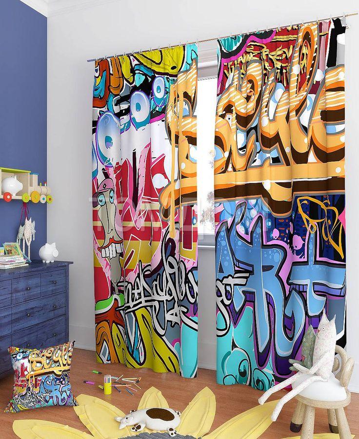 """Комплект штор """"Уличное искусство"""": купить комплект штор в интернет-магазине ТОМДОМ #томдом #curtains #шторы #interior #дизайнинтерьера"""