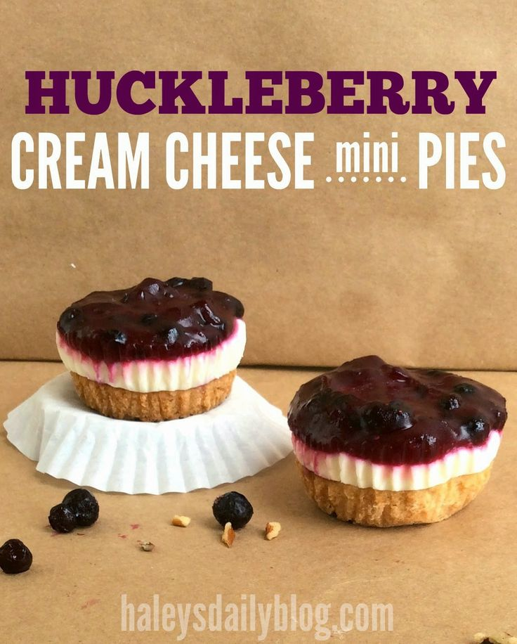 huckleberry cream cheese mini pies w/ pecan shortbread crust!  made with frozen huckleberries, but could easily be made with another type of berries.