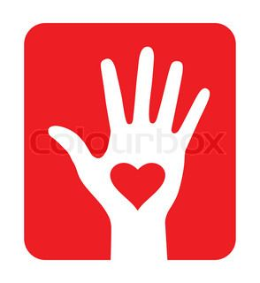 Hand with heart icon on red background