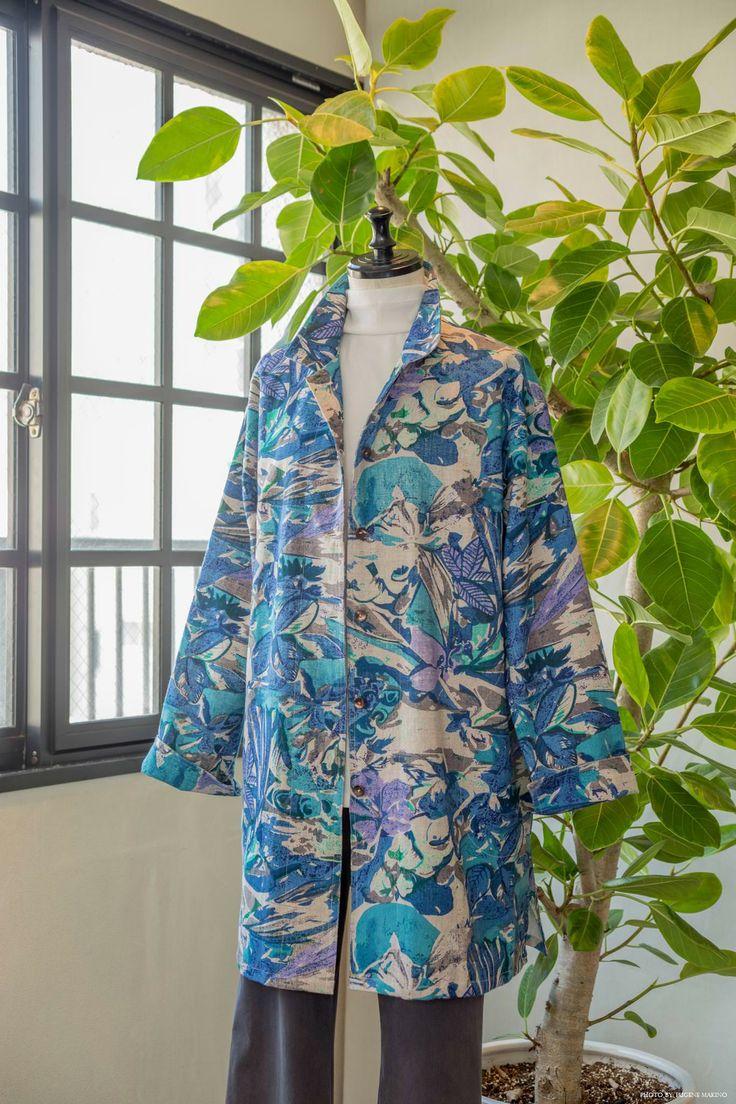GRAPE Motomachi / Botanical Print Spring Coat #botanical #springcoat #screenprint #springcoat #grapemotomachi
