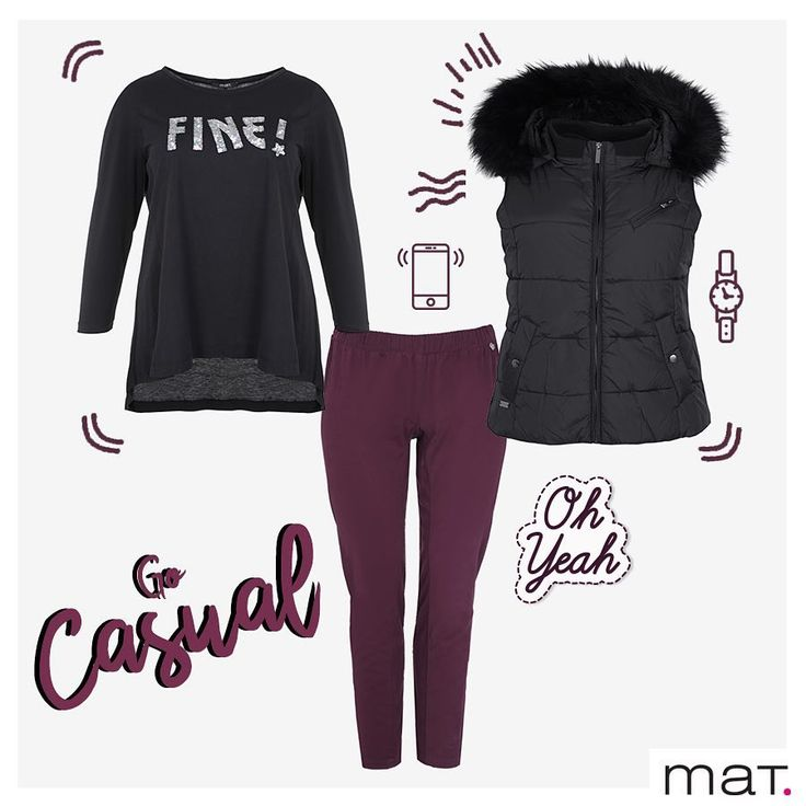 Cool girl's style❗️ Μπλούζα με logo fine ➲ code: 681.1321 Παντελόνι σωλήνας με ελαστική μέση ➲ code: 681.2112 Quilted γιλέκο με faux-fur κουκούλα ➲ code: 683.3012 #matfashion #fw1718 #realsize #collection #psootd #plussizefashion #fashion #style #casualstyle #lovematfashion